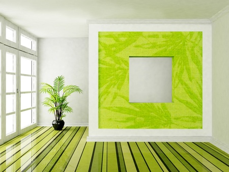 Interior design scene with a big window and a plant Stock Photo - 12867229