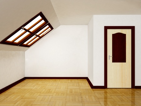 Interior attic room with a window Stock Photo - 12867225