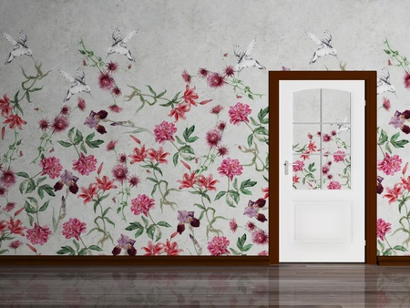 Beautiful  interior scene with beautiful wall and a door photo