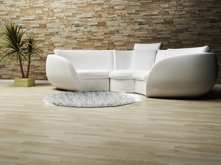 this is a modern interior wit a sofa, a carpet and a plant photo