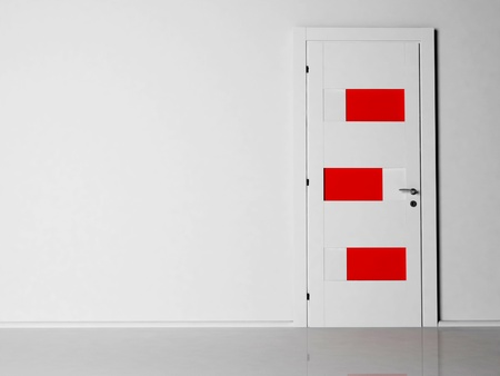 Interior design scene with a white and red door, rendering photo