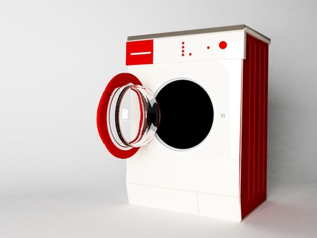 Modern nice washing machine, white and red photo