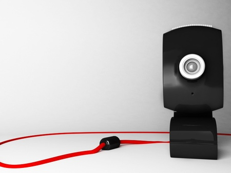 Creative web camera on the white background, rendering photo