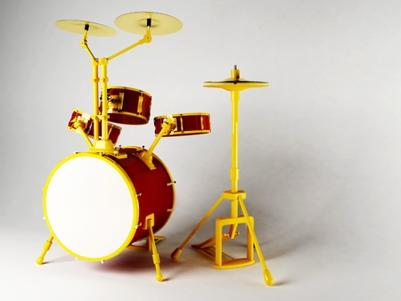 drum set: Nice musical instruments on the white background