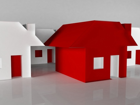 Many paper houses on the white background, rendering photo