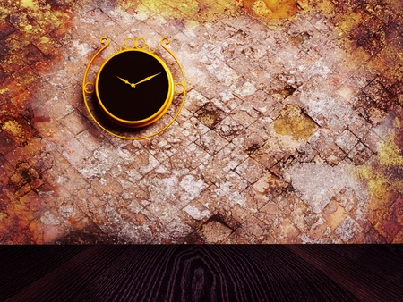 Retro nice clock on the dirty wall, rendering photo
