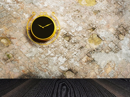 2nd century: Retro nice clock on the dirty wall, rendering