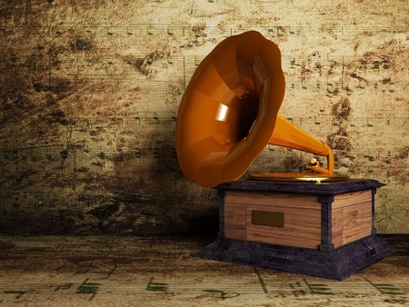 phonograph: beautiful old gramophone on the interesting background, rendering