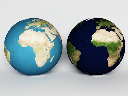 Two spheres, our Earth, globes, rendering Stock Photo - 12867480
