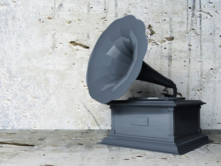 beautiful old gramophone on the interesting background, rendering photo