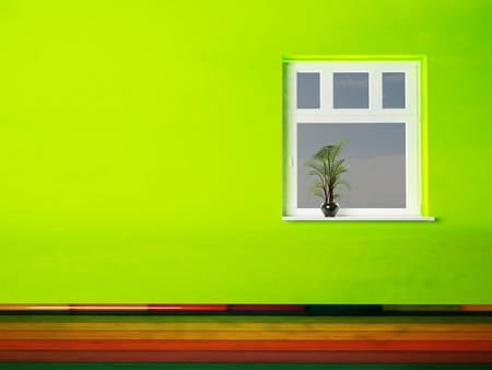 open window: Interior design scene with a vase on the window Stock Photo