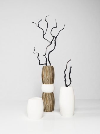 Three modern vases on white background, rendering