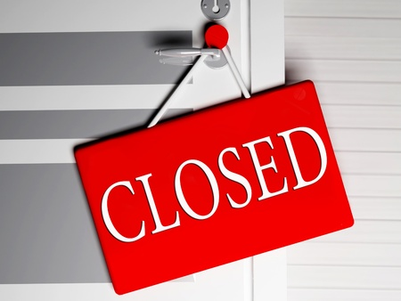 Information about closed of the shop, rendering photo