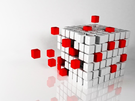 abstract composition with the cubes on white background Stock Photo - 12895652