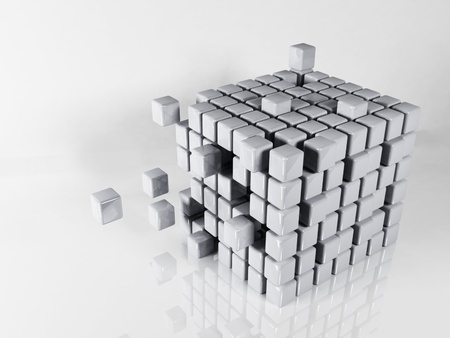 abstract composition with the cubes on white background photo