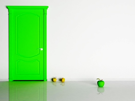 Interior design scene with a green door and apples photo