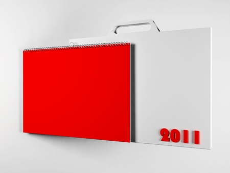 Modern red and white diary (calendar) on white background photo
