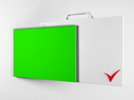 Creative white and green bussiness notebook, rendering photo