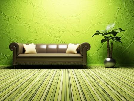 jídelna: Moderní design interiéru obývacího pokoje s jasným pohovkou a rostliny Reklamní fotografie
