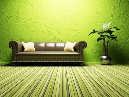 room wallpaper: Modern  interior design of living room with a  bright sofa and  a plant