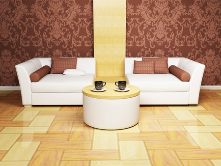 Modern  interior design of living room with a  white sofa, a table and  the cups photo