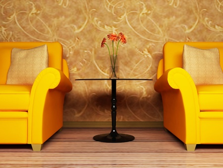 Modern  inter design of living room with two  bright armchairs and  a vase on the table Stock Photo - 12902632