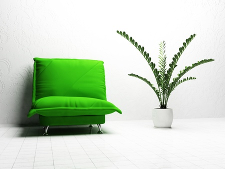 Modern  interior design of living room with a  bright sgreen armchair and a vase