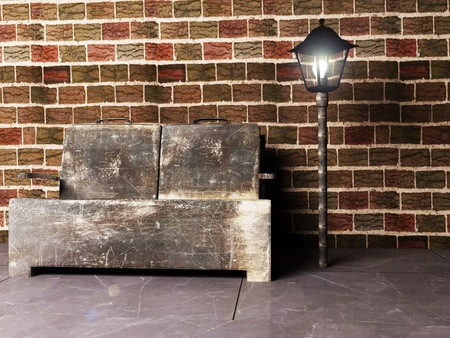 Interior design scene with an old sofa and a lantern, rendering photo