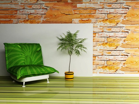 Modern  interior design of living room with a  bright green armchair and a vase photo