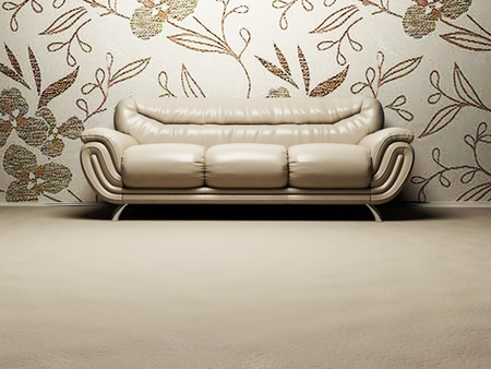 Interior design scene with a  nice sofa on the floral background photo