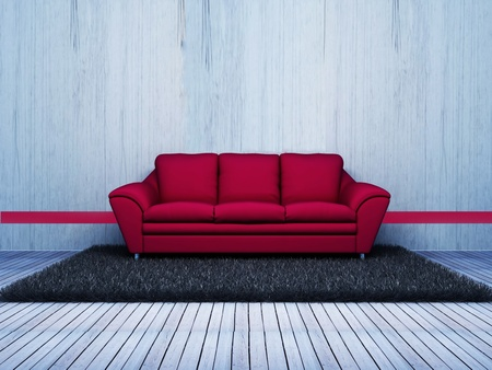 Modern  interior design of living room with a  pink sofa and a carpet Stock Photo - 12902550
