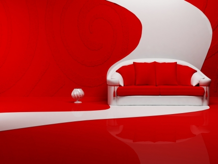 Modern  interior design of living room with a  red and white sora on the interesting background