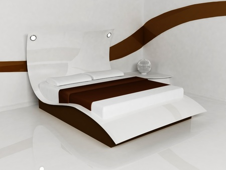 Modern  interior design of bed room with a  white and brown creative bed, minimalism photo