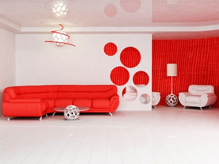 Modern  interior design of living room with a  bright  red sofa, a table, a floor lamp and an armchair photo