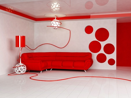 Modern  interior design of living room with a  bright red sofa and a floor lamp photo