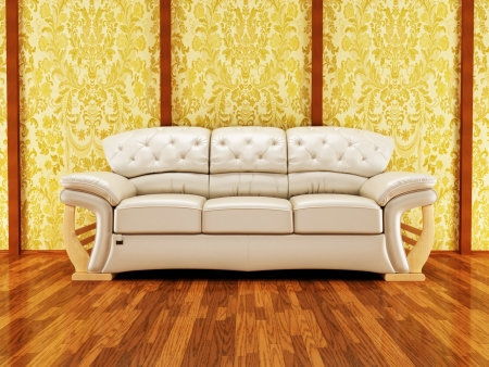 brown leather sofa: A nice royal sofa on the vintage background, rendering
