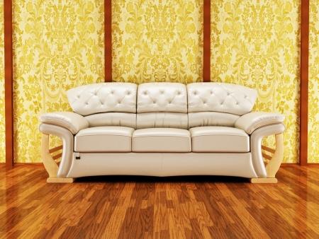 divan sofa: A nice royal sofa on the vintage background, rendering