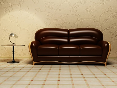 settee: Brown classic sofa with a table and a lamp Stock Photo