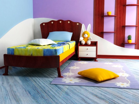 A  bright children room with a nice bed and a table photo