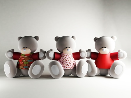 Three funny Bears on the white background, rendering Stock Photo - 12903290