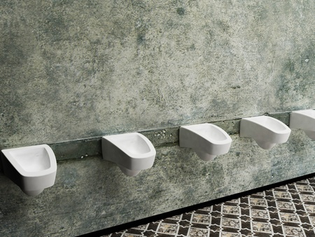 urinals in a row, public toilet, rendering photo