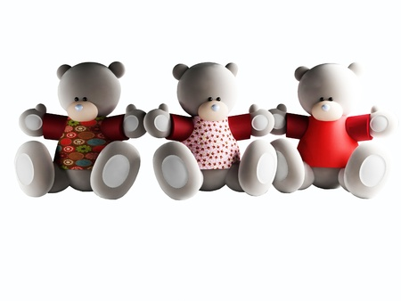Three funny Bears isolated on white, rendering Stock Photo - 12901794
