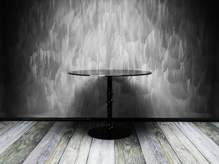 Black table in old grunge interior Stock Photo - 12902668