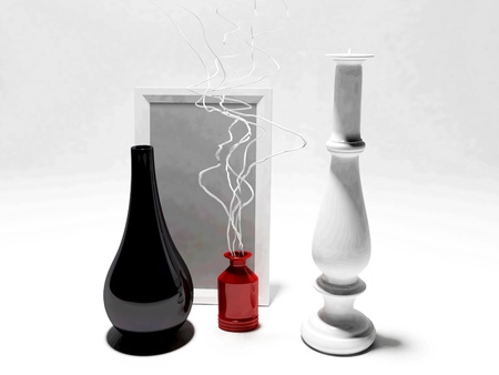 Two modern vases, a picture and a candle Stock Photo - 12903393