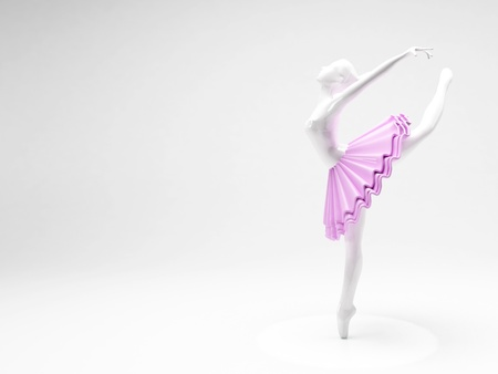 a beautiful Ballerina figurine on white background