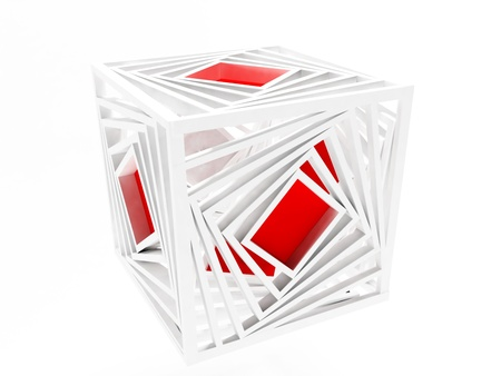 loosen: creative red cube isolated on white, rendering Stock Photo