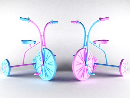 tricycle: Two nice kids bikes on white background Stock Photo