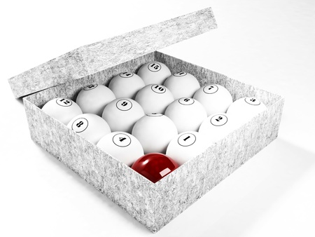 the nice billiard balls in the box, rendering photo