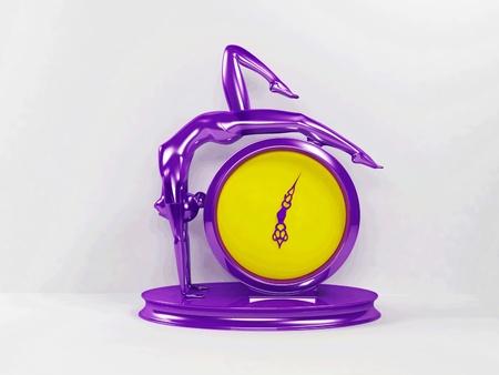 yelllow: Creative violet and yelllow clock, rendering