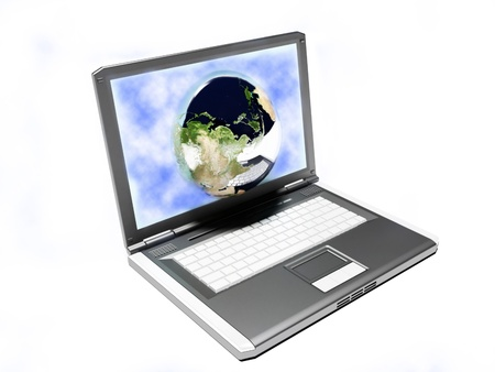 Laptop and our Earth, internet, technology photo